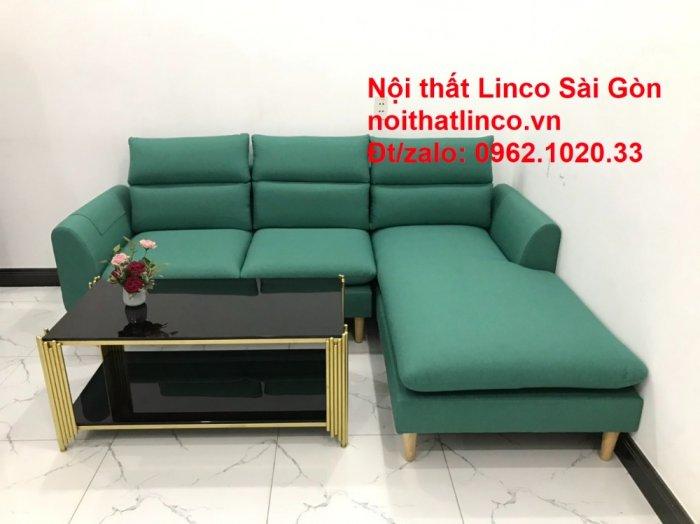 Sopha, salong góc   Sofa góc 2m2 xanh ngọc rẻ đẹp   Nội thất Linco HCM5