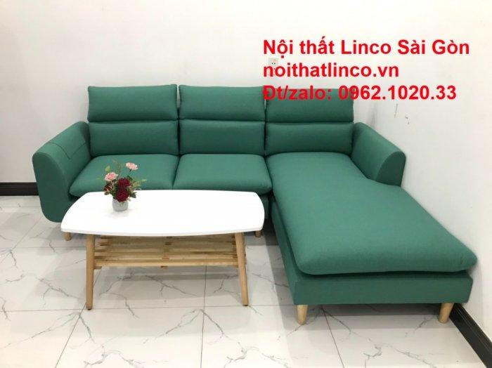 Sopha, salong góc   Sofa góc 2m2 xanh ngọc rẻ đẹp   Nội thất Linco HCM3