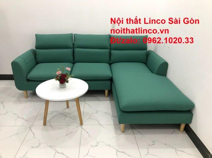 Sopha, salong góc   Sofa góc 2m2 xanh ngọc rẻ đẹp   Nội thất Linco HCM1