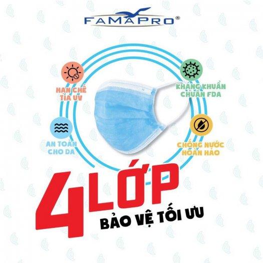 Hộp 50 cái khẩu trang Y tế kháng khuẩn nam anh 4U FAMAPRO 4 Lớp3