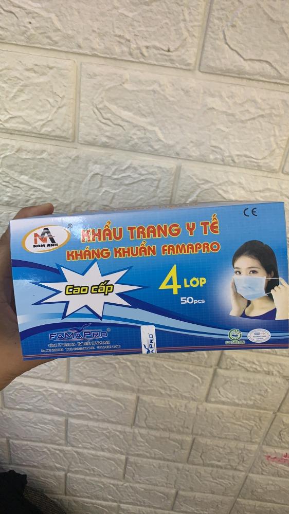 Hộp 50 cái khẩu trang Y tế kháng khuẩn nam anh 4U FAMAPRO 4 lớp chất lượng6