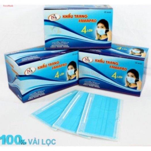 Hộp 50 cái khẩu trang Y tế kháng khuẩn nam anh 4U FAMAPRO 4 lớp chất lượng5