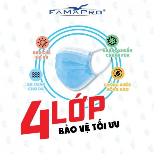 Hộp 50 cái khẩu trang Y tế kháng khuẩn nam anh 4U FAMAPRO 4 lớp chất lượng3