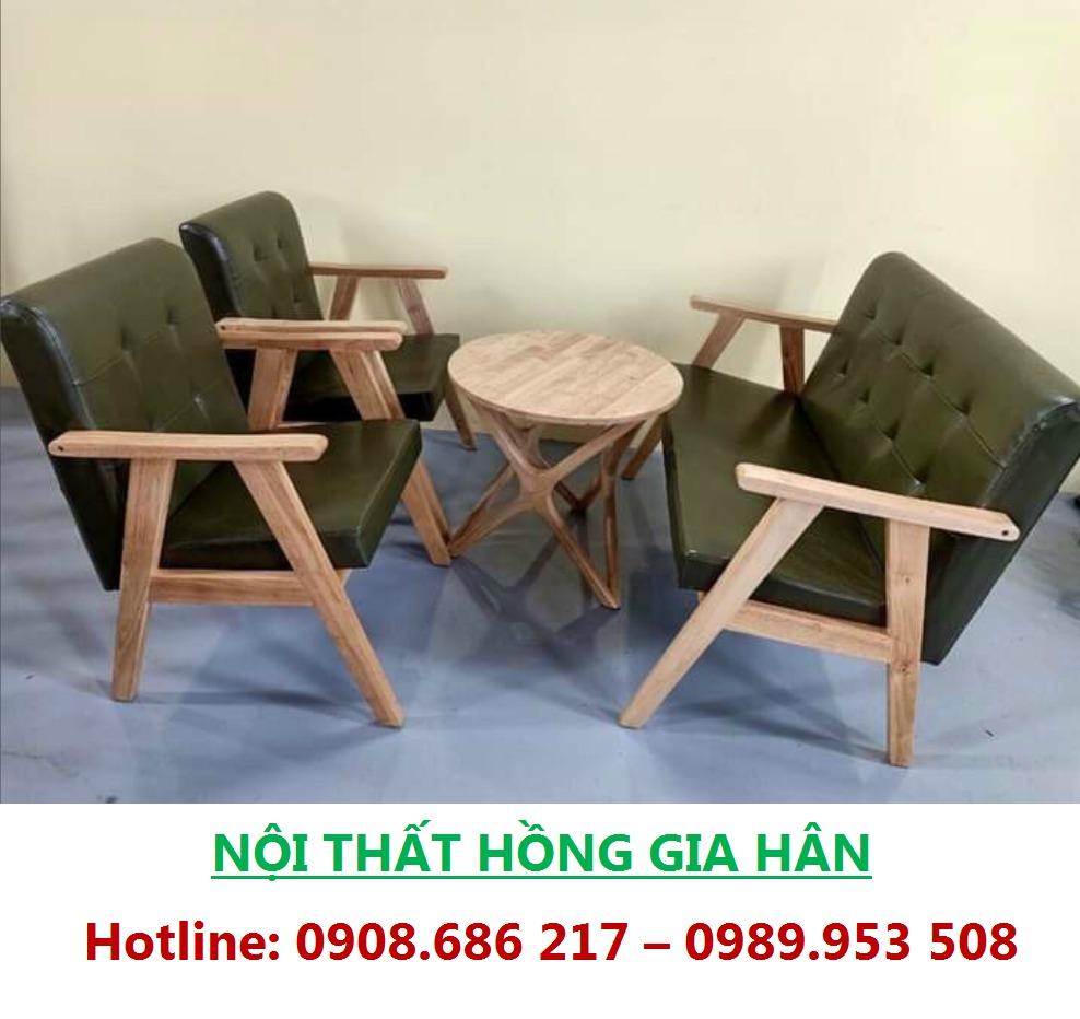 Bộ Bàn Ghé Cafe Bằng Gỗ Kèm Đệm HGH0