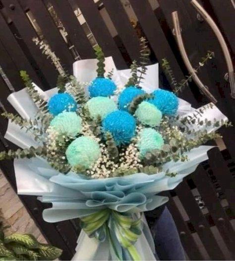 Bó hoa cúc mẫu đơn xanh cao cấp - LDNK080