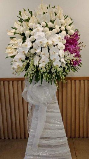 Lẵng hoa viếng đám tang lan trắng đẹp - LDNK15