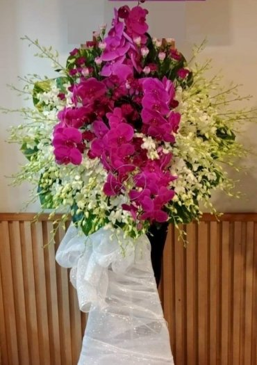 Lẵng hoa lan trắng và lan hồ điệp tím viếng đám tang - LDNK260