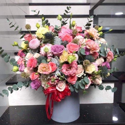 Bình hoa chúc mừng để bàn tone hồng pastel - LDNK310