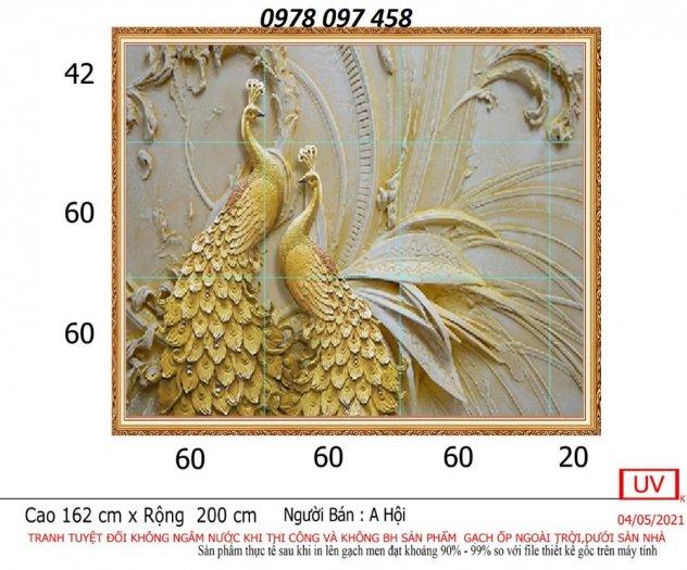 Tranh 3D - tranh chim công vàng ốp tường1