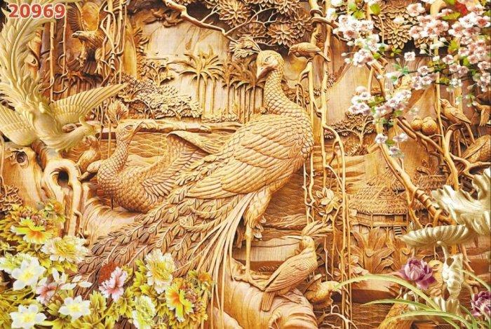 Tranh 3D - tranh chim công vàng ốp tường0