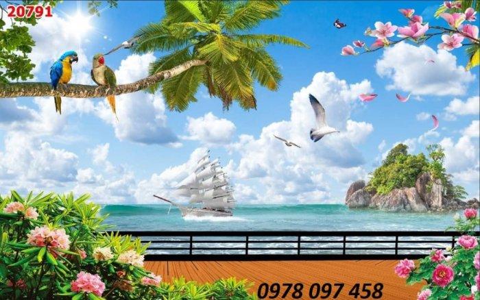 Tranh thuyền buồm xuôi gió - tranh gạch dán tường2