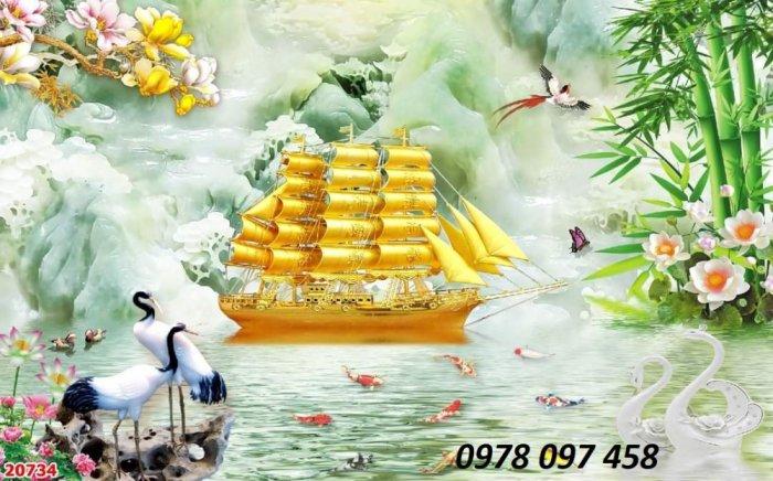 Tranh thuyền buồm xuôi gió - tranh gạch dán tường1