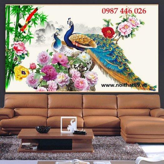 Gạch tranh chim công 3d ốp tường đẹp phòng khách HP49247