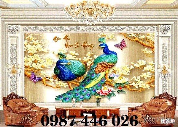Gạch tranh chim công 3d ốp tường đẹp phòng khách HP49246