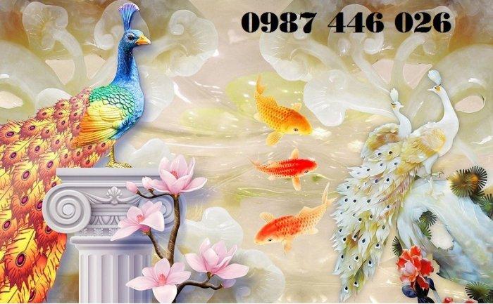 Gạch tranh chim công 3d ốp tường đẹp phòng khách HP49245
