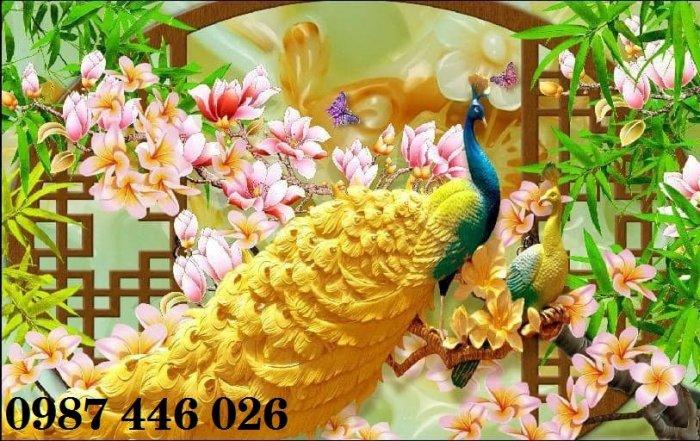 Gạch tranh chim công 3d ốp tường đẹp phòng khách HP49243