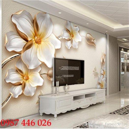 Gạch 3d tranh hoa ngọc bích ốp tường HP494410