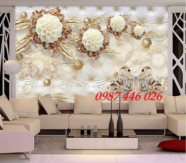 Gạch 3d tranh hoa ngọc bích ốp tường HP49448