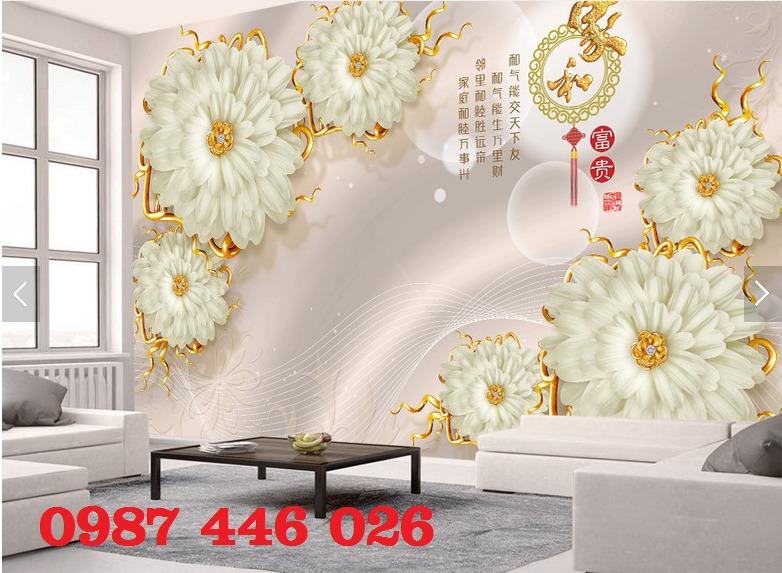 Gạch 3d tranh hoa ngọc bích ốp tường HP49447