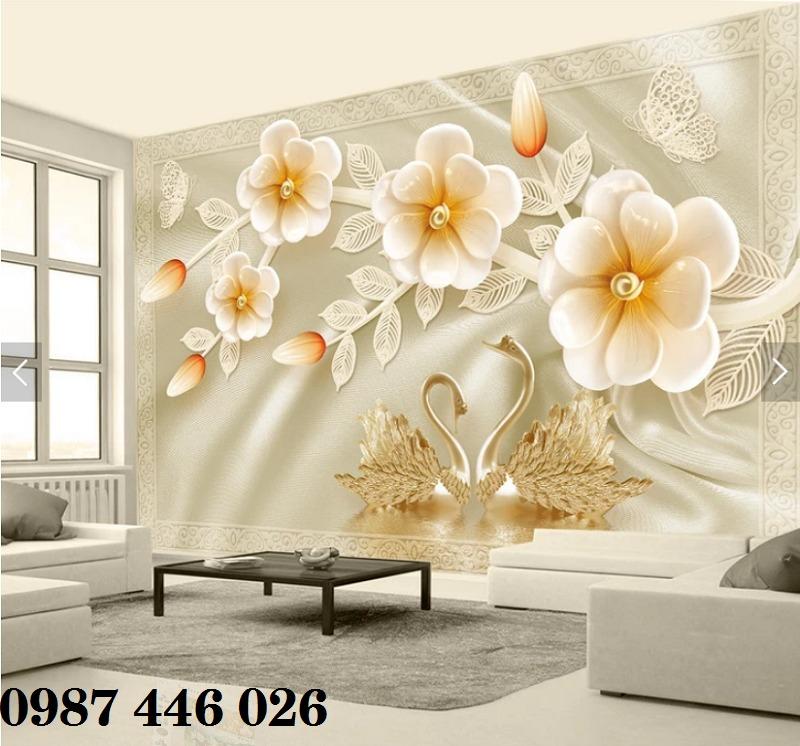Gạch 3d tranh hoa ngọc bích ốp tường HP49446