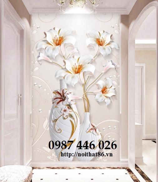 Gạch 3d tranh hoa ngọc bích ốp tường HP49443