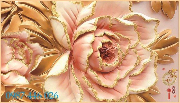 Gạch 3d tranh hoa ngọc bích ốp tường HP49440