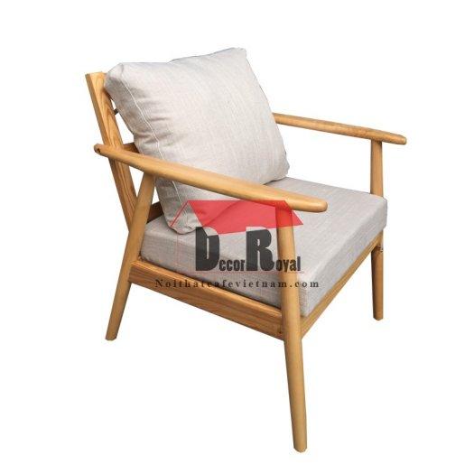 Ghế sofa gỗ ash chân tròn cho quán cafe2
