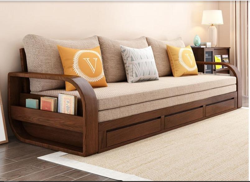 Ghế sofa giường kéo đa năng, bộ giường ghế gấp thông minh gỗ tự nhiên giá rẻ15