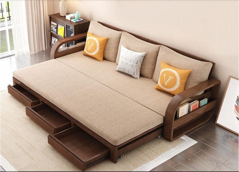 Ghế sofa giường kéo đa năng, bộ giường ghế gấp thông minh gỗ tự nhiên giá rẻ11