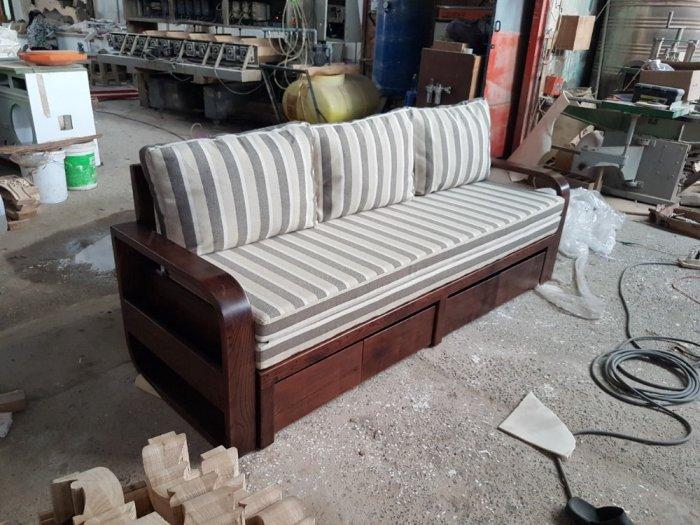 Ghế sofa giường kéo đa năng, bộ giường ghế gấp thông minh gỗ tự nhiên giá rẻ2