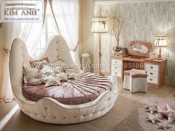 Giường tròn ngọc trinh, mẫu giường tròn cho bé gái sang chảnh sành điệu17