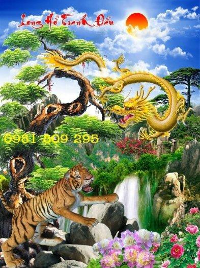 Tranh rồng hổ tranh đấu - gạch tranh 3d3