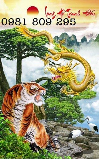 Tranh rồng hổ tranh đấu - gạch tranh 3d1
