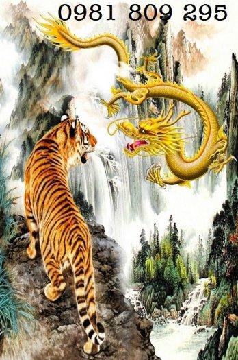 Tranh rồng hổ tranh đấu - gạch tranh 3d0