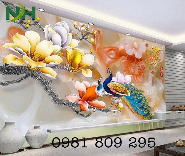 Mẫu tranh chim công - gạch tranh 3d trang trí1
