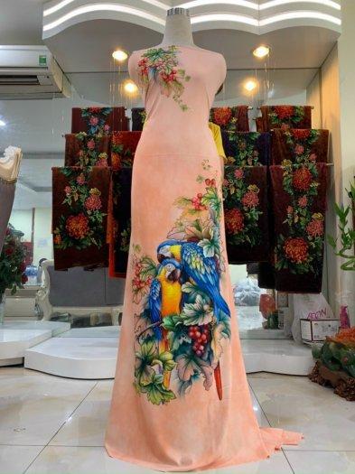 Vải nhung nhật đính đá chú chim két dễ thương độc đáo của vải áo dài Kim Ngọc9
