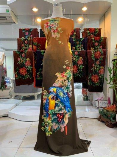 Vải nhung nhật đính đá chú chim két dễ thương độc đáo của vải áo dài Kim Ngọc7
