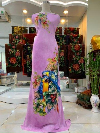 Vải nhung nhật đính đá chú chim két dễ thương độc đáo của vải áo dài Kim Ngọc6