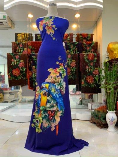 Vải nhung nhật đính đá chú chim két dễ thương độc đáo của vải áo dài Kim Ngọc5
