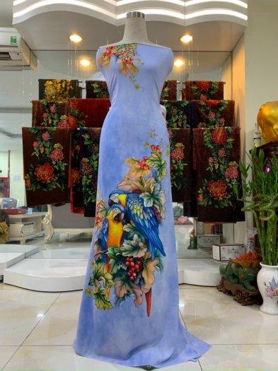 Vải nhung nhật đính đá chú chim két dễ thương độc đáo của vải áo dài Kim Ngọc2