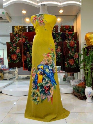 Vải nhung nhật đính đá chú chim két dễ thương độc đáo của vải áo dài Kim Ngọc1