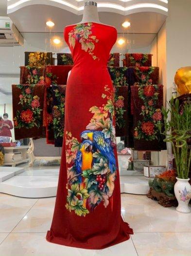 Vải nhung nhật đính đá chú chim két dễ thương độc đáo của vải áo dài Kim Ngọc0