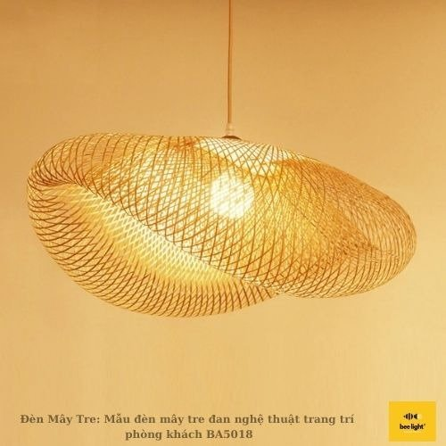 Đèn Mây Tre: Mẫu đèn mây tre đan nghệ thuật trang trí phòng khách BA5018 430.000 VND5