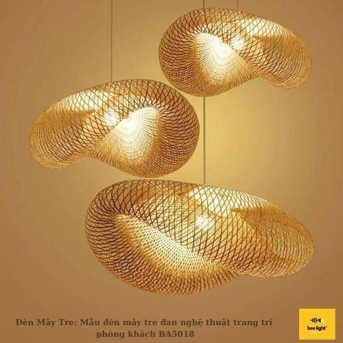 Đèn Mây Tre: Mẫu đèn mây tre đan nghệ thuật trang trí phòng khách BA5018 430.000 VND1