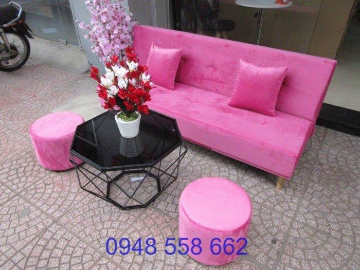 Mua sofa bed giá rẻ tặng kèm bàn + 2 đôn tại Thuận An, mua bàn ghế kiêm giường ngủ 2 trong 1 tại Bình dương2