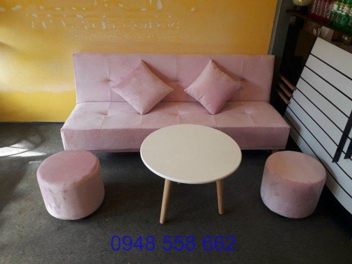 Mua sofa bed giá rẻ tặng kèm bàn + 2 đôn tại Thuận An, mua bàn ghế kiêm giường ngủ 2 trong 1 tại Bình dương0