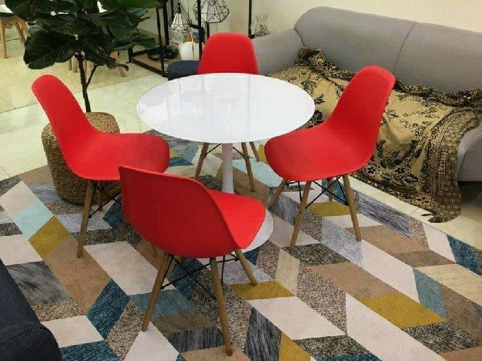 Bộ bàn ghế nhựa chân gỗ cao cấp1
