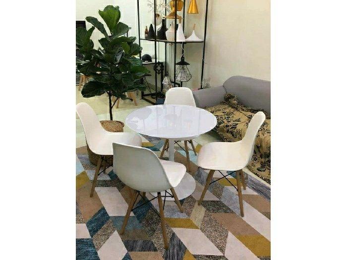 Bộ bàn ghế nhựa chân gỗ cao cấp3
