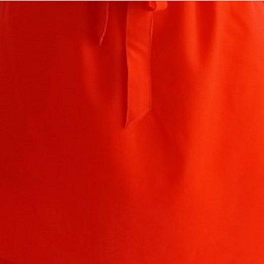 Đầm chữ A màu cam dằn chỉ nổi, cột nơ trước D6-Cam0