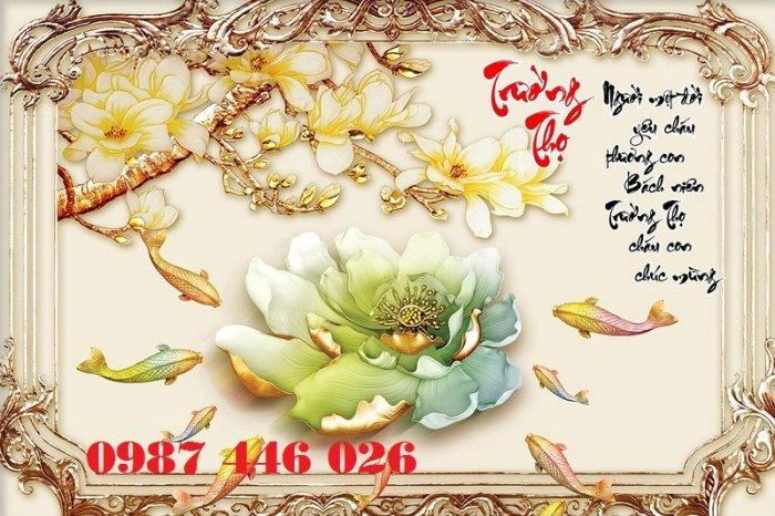 Tranh gạch hoa sen, gạch trang trí ốp tường HP7665